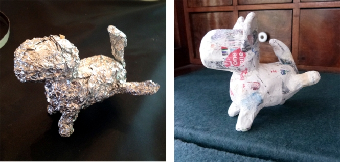 paper mache pup step two