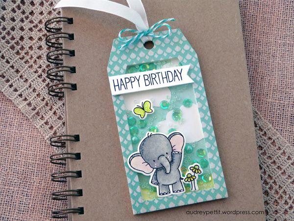 AudreyPettit 28LilacLane ElephantBirthdayShakerTag