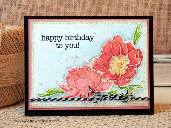 Watercolor Birthday Cards Tutorial ~ Sizzix tutorial distress ink watercolor resist u audrey pettit